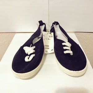 H&M Navy Canvas Slip On Shoes